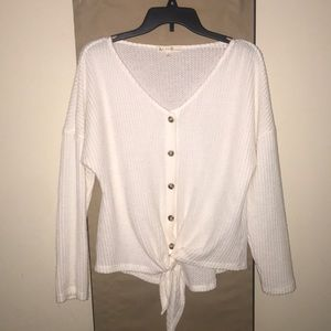 """"""" Another Reason"""" White Knit Sweater (Medium)"""